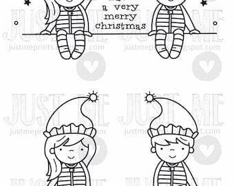Christmas elves digital stamp