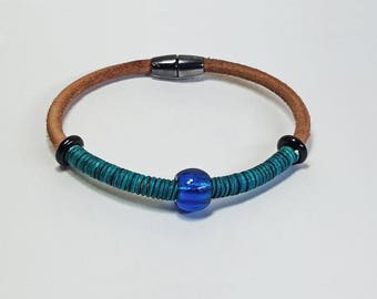 Chunky Bound Leather Hide Wristband with Glass Beads and Magnetic Clasp