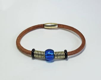 Chunky Coil and Bead Leather Hide & Brass Wristband with Glass Beads and Magnetic Clasp