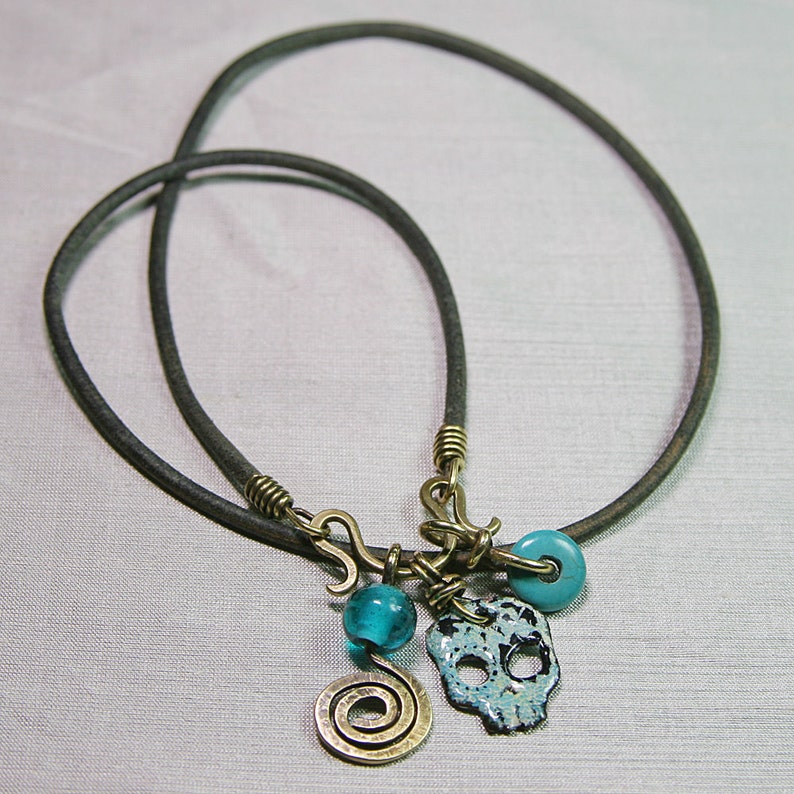Funky Boho Hip Spiral Sky Sugar Skull Pendant on Leather Thong 3 colours or lengths