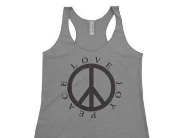 5cb9975fab9 TANK TOP WOMEN , Peace Sign Tank , Peace Tank Top , Hippie Tank,Inspirational  Tank Top , Women's Graphic Tank , Graphic Tank, Peace Love Joy