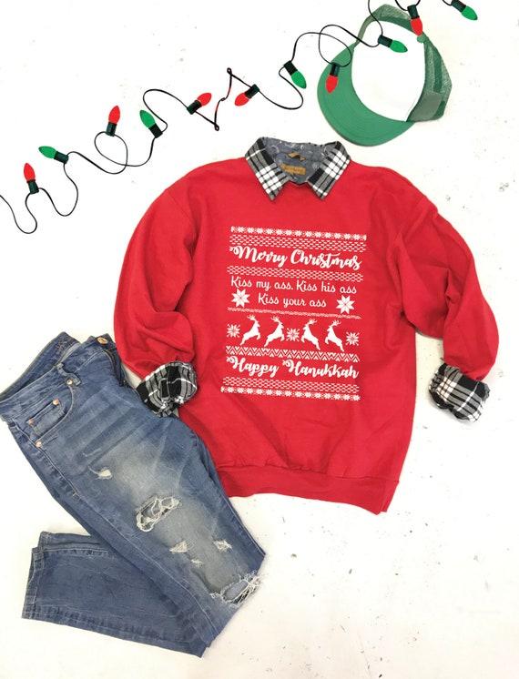 Ugly Christmas Shirts for Women and Men Funny Merry KissMyAss Christmas T-Shirt Tops Santa Claus Print Winter Basic Tee