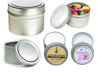 """2 oz 45 Deep Round Tins 2"""" Dia x 1.50"""" H Plain Empty for Party Favors Giveaway or Candle Making"""