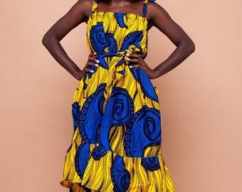 Tiana Ankara Midi dress, ankara dress, print dress, gathered dress, african print dress, midi dress, midi, dress, african clothing