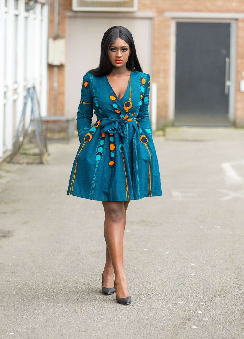 Ankara dress print dress gathered dress african print image 0