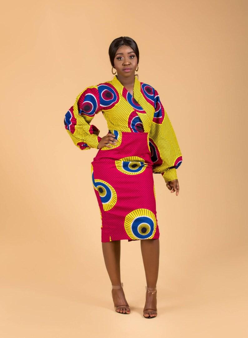 Uwem Ankara midi dress pencil dress print dress wrap dress image 0