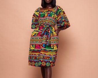Tekena Midi ankara print dress, print dress, african print dress, ankara dress, midi, dress, african clothing