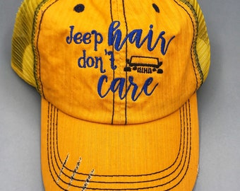 Jeep Hair Don't Care Hat - Yellow Hat, Blue Stitching, Black Jeep - ONE OF A KIND