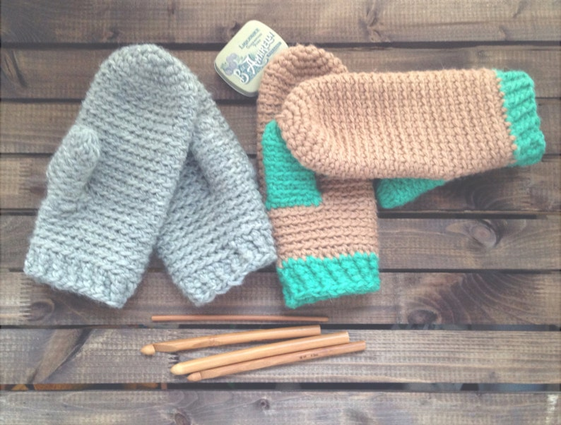 One Night Mittens PDF Crochet Pattern Chunky Mittens Easy image 0