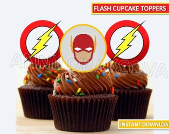 The Flash Cupcake Toppers/ The Flash Printables/ Superhero/ The Flash Party/ Instant Download/ You Print 60% OFF