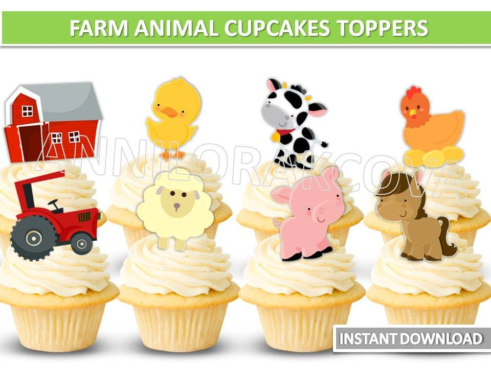 Farm animals cupcake toppers/ farm animal Printables/ Barnyard | Etsy