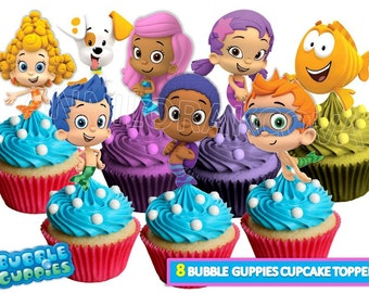 Bubble Guppies Cupcake toppers/ Bubble guppies Printables/ Bubble Guppies Cake Topper/ Party Favors/ Instant Download/ You Print 60% OFF