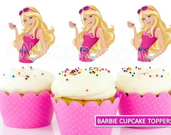 Barbie Cupcake Toppers/ Barbie Printables/ Instant Download/ You Print 60% OFF