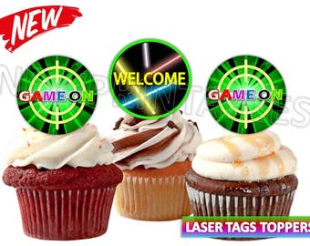 Laser Tag party, Laser tag Cupcake toppers, Instant Download, laser tag printables, team sports, Digital File