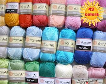 100 %  Mercerized cotton  yarn  crochet yarn Yarnart begonia amigurumi quality  perfect sport yarn knitting toys clothes eco yarn wholesale