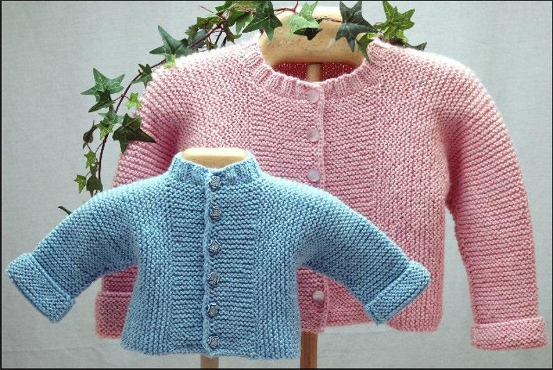Baby J Cardigan Knitting Pattern Pdf Garter Stitch Etsy