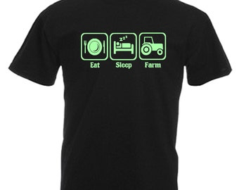 Farmer Mens Glow In The Dark Adults Black T Shirt Sizes From Small Xl