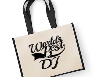 Xmas Christmas Santa Gift Music DJ Fabric Black Tote Bag 15x15