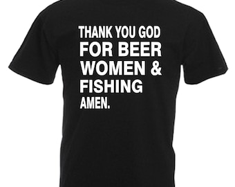 Fishing Gift Adults Black T Shirt Sizes From Small - 3XL