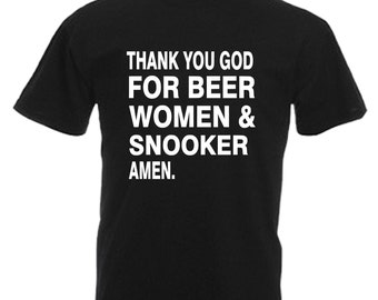 Snooker Mens Gift Adults Black T Shirt Sizes From Small - 3XL