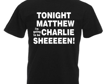 Charlie Sheen Adults Mens Black T Shirt Sizes From Small - 3XL