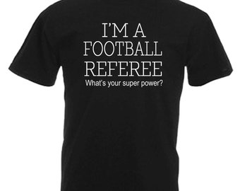 Football Referee Adults Mens Black T Shirt Sizes From Small - 3XL