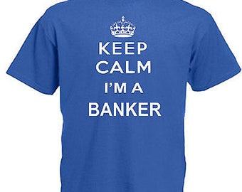 Keep calm banker children's kids t shirt