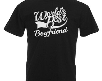 Worlds Best Boyfriend Gift Adults Mens Black T Shirt Sizes From Small - 3XL