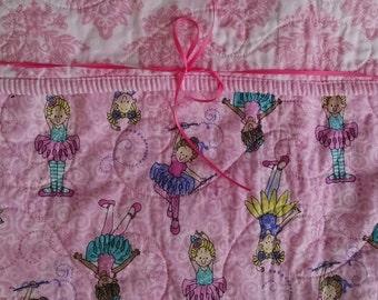 Baby Girl Quilt, Ballerina Quilt, Girl Quilt, Dancing, Ballerina Nursery, Ballerina Bedding, Pink, White, Purple, Aqua, Yellow