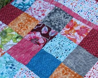 Modern Baby Girl Quilt, Modern Floral Quilt, Grey, Pinks, Greens, Blues, Orange, Reversible, Handmade, Ready to Ship, Nursery Crib Bedding,
