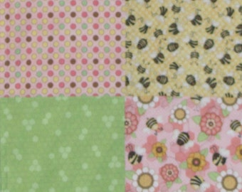 Baby Girl Minky Blanket, Bees, Flowers, Pink, Green, Yellow