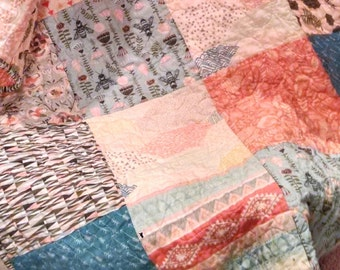 Baby Girl Quilt- Bee Quilt- Southwest Girl Quilt- Southwest Nursery- Tribal Girl Quilt- Peach, Aqua, Hawthorne Threads-Tribal Bedding