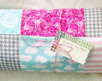 Baby Girl Minky Blanket, Pink, Grey, Aqua, White, Modern Minky Blanket, Modern Nursery Bedding