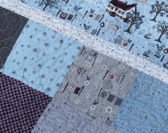 Gender Neutral, Ready to Ship, Folk, Country, Rustic,  Woodland, Blue, Grey, Gray, Houses, Animals, Handmade, Patchwork