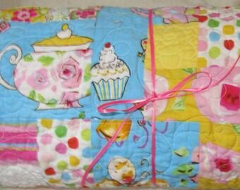 Baby Quilt Modern- Girl Bedding- Pink Yellow Aqua Orange- Tiddlywinks Quilt- Infant Toddler Baby- Infant Quilt- Girl Crib Blanket- Floral