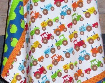 Baby Minky Blanket, Stroller Blanket, Farm, Country, Tractors, Animals, Red, Blue, Green, Yellow, Orange