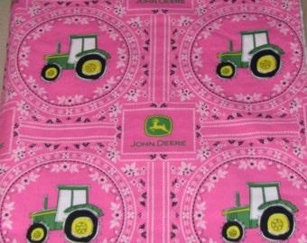 John Deere, Baby Girl Blanket, Country, Farm, Pink, Green, White, Tractors, Minky Blanket, Bedding