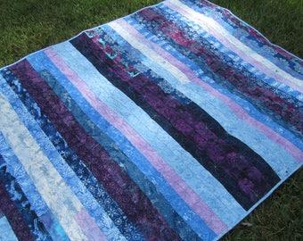 Free Shipping, Winter Themed Quilt, Strip Quilt, Batik Fabric Quilt, Jelly Roll Quilt, Blue Purple Batik Quilt, Lap Quilt, Throw Quilt