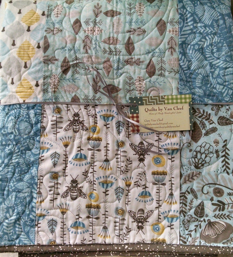 Grey Blue Woodland Quilt White Toddler Bee Quilt Baby Bee Quilt Brown Hawthorne Threads Bee Quilt Baby Quilt Owls