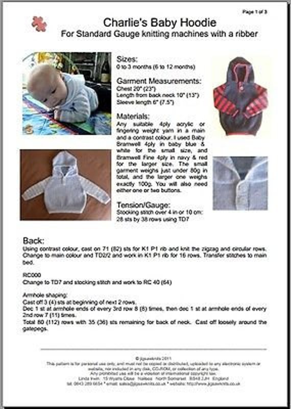 02aee4619b2 Baby Hoodie   Hooded Sweater   Machine Knitting Pattern.