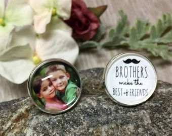 SILVER ROUND Custom Cufflink-1 Photo/1 Quote (Brothers Make the Best of Friend)-Wedding Keepsake-In Memory-Loss of a Loved One-Photo Jewelry