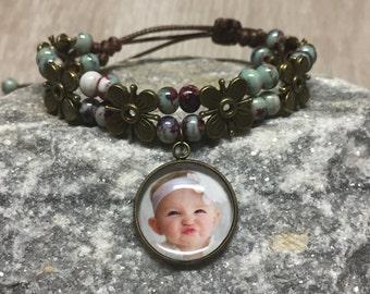 Custom Photo Bracelet -  Bohemian Bracelet - Picture Bracelet - Custom Pendant - Personalized Bracelet - Photo Jewelry - Gift - Keepsake