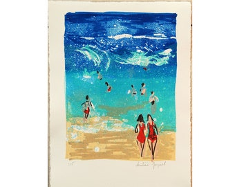 Contemporary lithograph of a beach with a turquoise blue sea, waves and bathers, original lithograph of the sea, decoration.