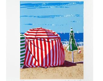 Beach cabin in Biarritz France, original screenprint of a seaside landscape, original handmade screenprint, home decoration