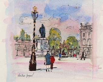 Original mixed media Place Stanislas, original painting of Place Stanislas in summer with passers-by, wall decoration, gift
