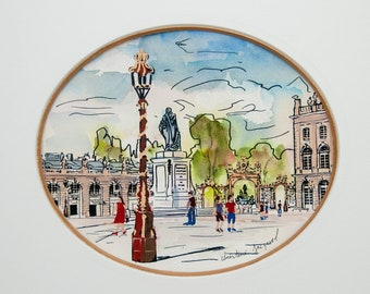 Original mixed media from Place Stanislas in France, original oval painting of Place Stanislas on the Amphitrite fountain side