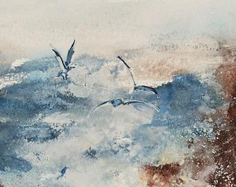 Seagull Art Print Watercolor Sea Gull 11 x 14 by Artist DJ Rogers