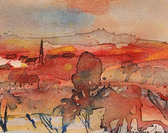Original watercolor of the French countryside at sunset, original painting of a landscape in France at sunset