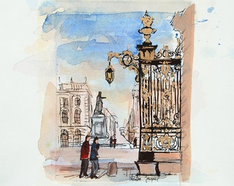 Original watercolor of the grids of the Place Stanislas, original painting of the place Stanislas, etching of the place Stanislas