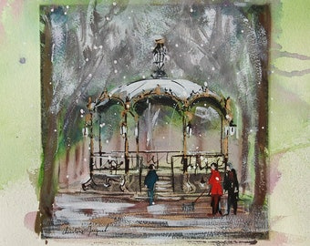Watercolor and gouache of a bandstand in France, original painting of a cityscape in winter, walkers under the snow, Original mixed media